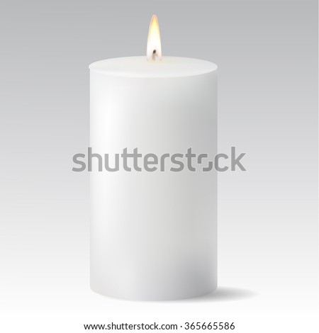 White candle isolated on white background - stock vector