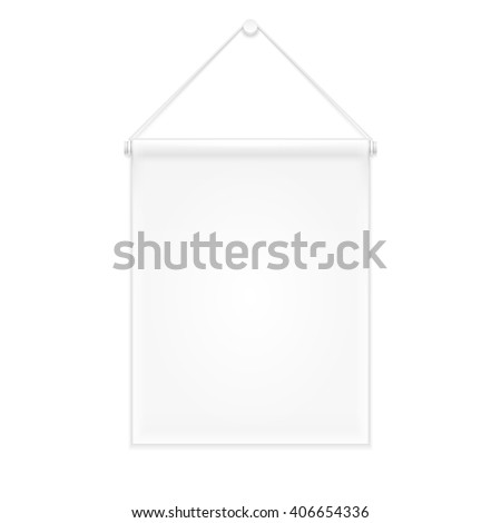 White Canvas Fabric Wall Hanging Award Banner, Decor Advertising Shield. Mock Up, Template Products On White Background Isolated. Ready For Your Design. Product Packing. Vector EPS10 - stock vector