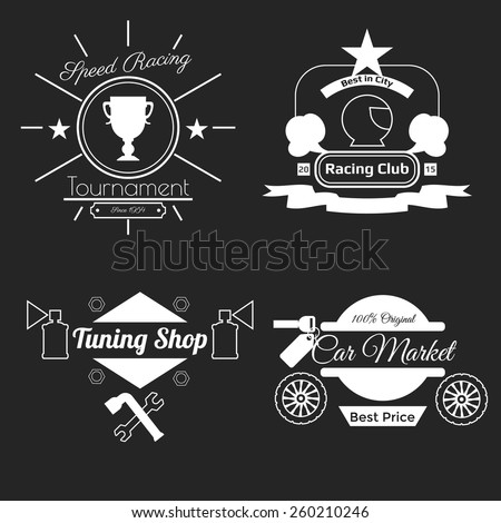 White car theme logos on black background in flat design. Badges: Tournament, Racing club, Tuning shop, Car market. Vector illustration - stock vector