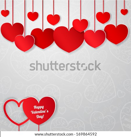 White card for Valentine's Day with red paper hearts - stock vector