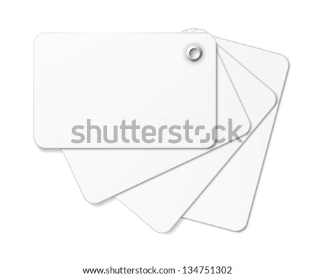 White card pack fastened together with rivet. Vector illustration.