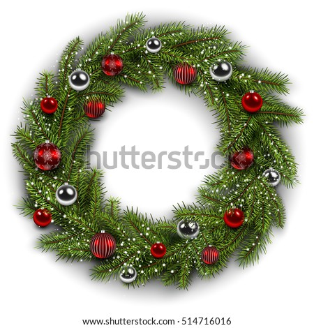 White card with Christmas wreath. Vector  christmas background.