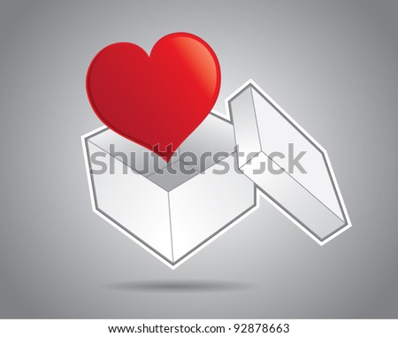 White cardboard box with cover and a heart, sending valentine concept, vector illustration - stock vector