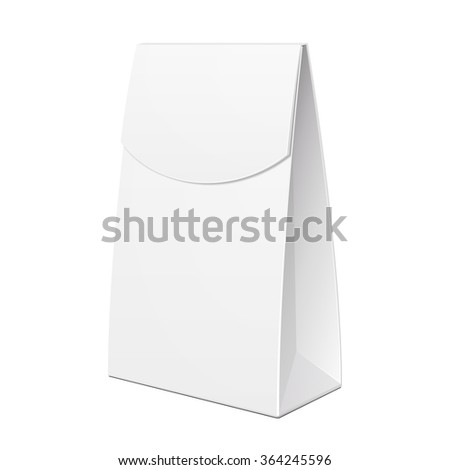 White Cardboard Carry Box Bag Packaging For Food, Gift, Cosmetics Or Other Products. Illustration Isolated On White Background. Mock Up Template Ready For Your Design. Product Packing Vector EPS10 - stock vector