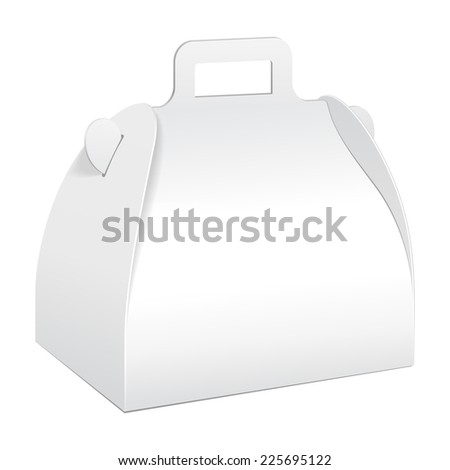 White Cardboard Carry Box Packaging For Food, Gift Or Other Products. On White Background Isolated. Ready For Your Design. Product Packing Vector EPS10 - stock vector