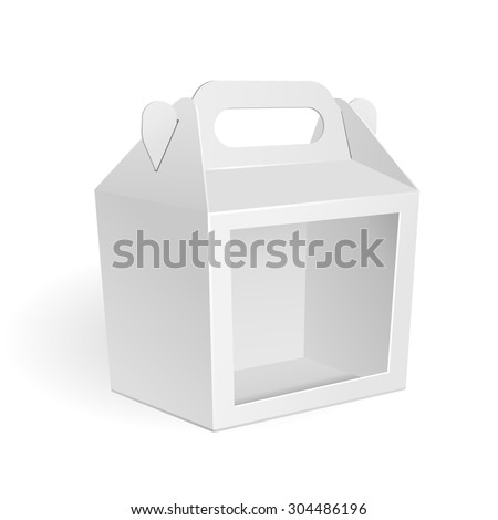 White Cardboard Carry Box Packaging For Food, Gift Or Other Products With Window.  Illustration Isolated On White Background. Mock Up Template Ready For Your Design. Product Packing Vector EPS10 - stock vector
