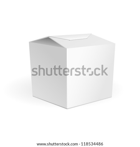 White Cardboard Fast Food Or Candies Box, Packaging For Lunch, Chinese Food. On White Background Isolated. Ready For Your Design. Product Packing Vector EPS10 - stock vector