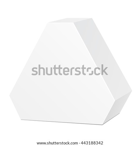 White Cardboard Hexagon Triangle Carry Box Bag Packaging For Food, Gift Or Other Products. On White Background Isolated. Ready For Your Design. Product Packing Vector EPS10