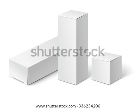 White cardboard packages boxes. Mock up template isolated on white background. - stock vector
