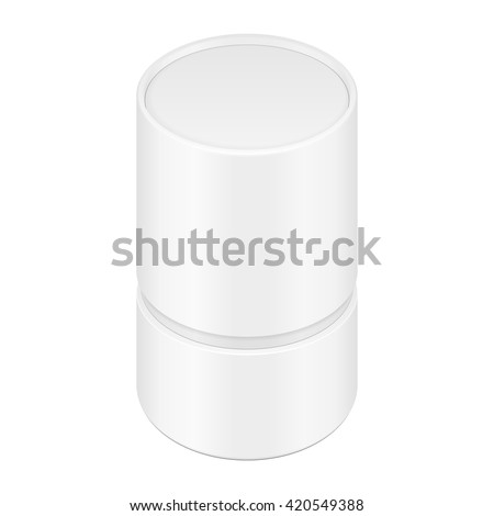 White cardboard paper tube cylinder box stock vector for Cylinder packaging template