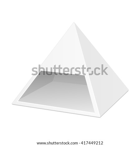 White Cardboard Pyramid Triangle Box Packaging For Food, Gift Or Other Products. Illustration Isolated On White Background. Mock Up Template Ready For Your Design. Product Packing Vector EPS10