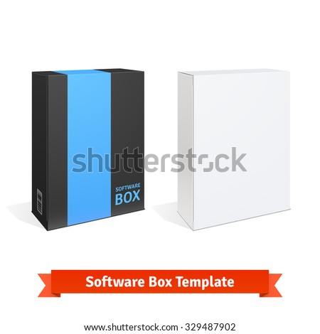 White cardboard software box. Blank and color templates. Detailed vector illustration isolated on white background. - stock vector
