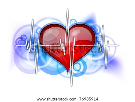 white cardiogram with red heart - stock vector