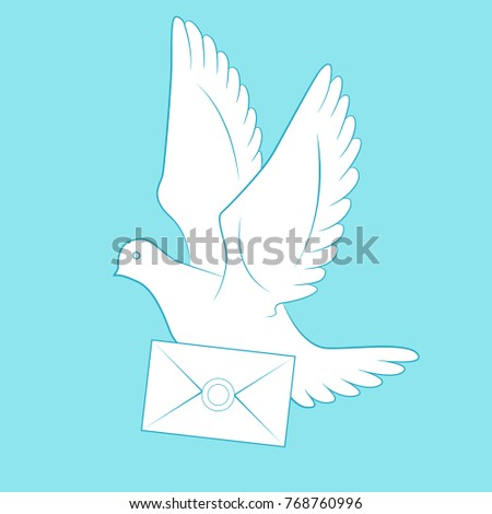 White carrier pigeon and letter. Sketch style vector illustration isolated on background