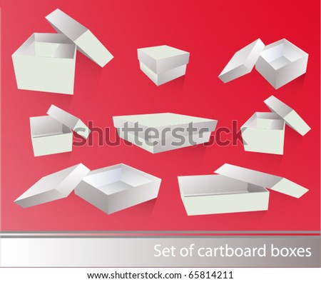 White cartboard boxes - stock vector