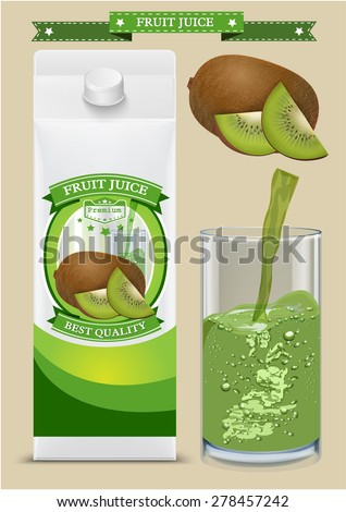 White carton boxes with Label vector visual, ideal for fruit juice. Can drawn with mesh tool. Fully adjustable & scalable. packages design - stock vector