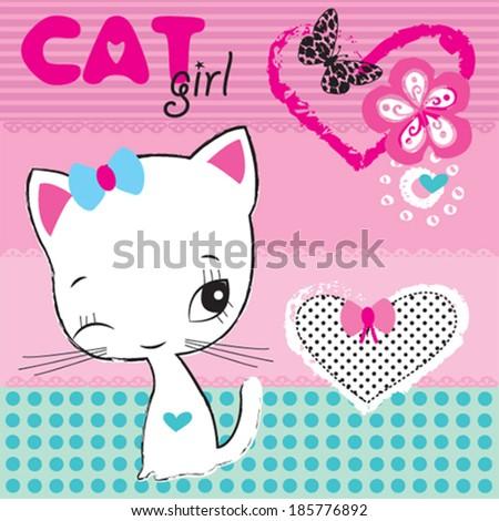 white cat girl vector illustration - stock vector
