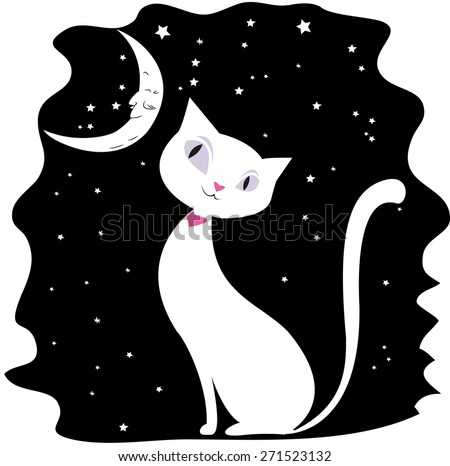 White cat on a black night sky, the stars and the moon,vector illustration, - stock vector