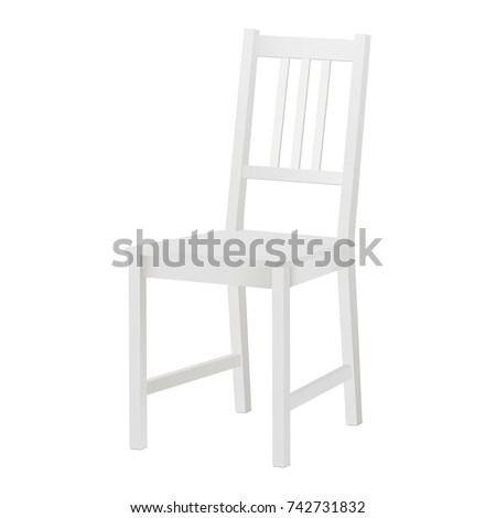 White Chair Mockup Isolated. White Wood Chair. White Blank Kitchen Chair.  Vector Illustration