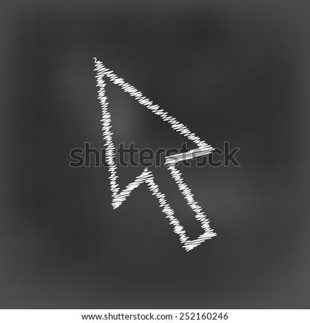 white chalk cursor arrow icon on black board background(vector) - stock vector
