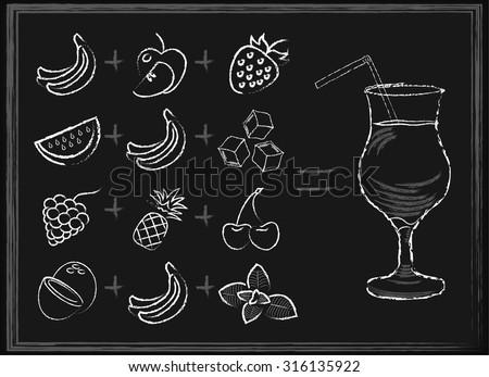 White chalk hand-drawn fruit smoothie recipes on black chalkboard background vector illustration - stock vector