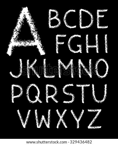 White charcoal letter set on black background - stock vector