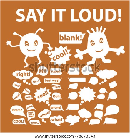 white chat & talk signs, vector - stock vector