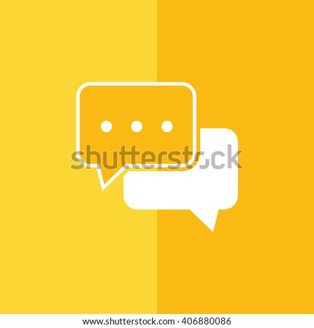 White chat vector icon. Yellow background - stock vector