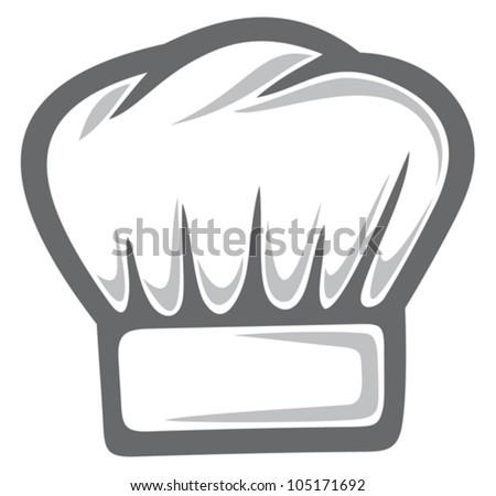 white chef hat - stock vector
