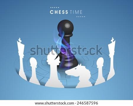 White chess pieces with pawn in center covered by flame on blue background.  - stock vector