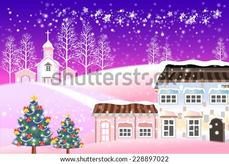 White christmas background of a snow-covered village. - Creative illustration eps10