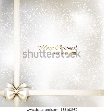 white Christmas background with bow. - stock vector