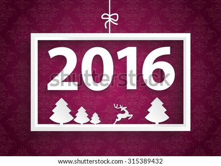 White christmas frame on the purple background with date 2016.  Eps 10 vector file. - stock vector
