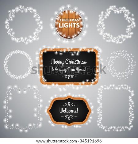 White Christmas Lights on Blackboard for Celebratory Design. Used pattern brushes included. - stock vector