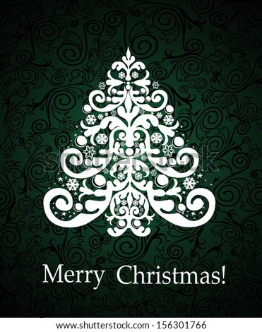 White Christmas tree on vintage wallpaper pattern background.