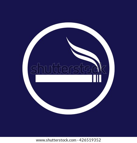 White circle cigarette vector icon. Allowed smoking sign. Blue background - stock vector