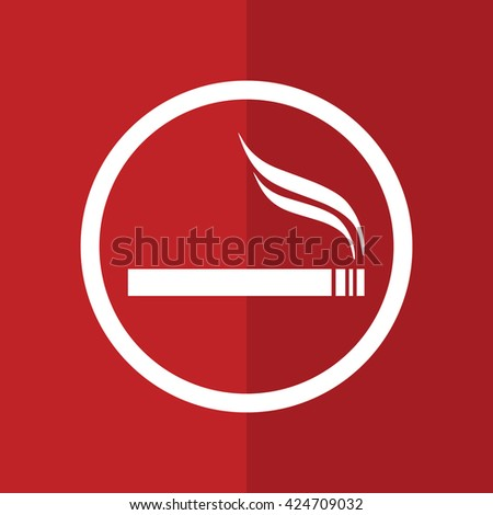 White circle cigarette vector icon. Allowed smoking sign. Red background - stock vector