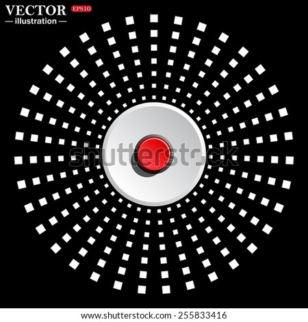 White circle on a black background. icon,  Red button start, stop. Vector illustration, EPS 10 - stock vector