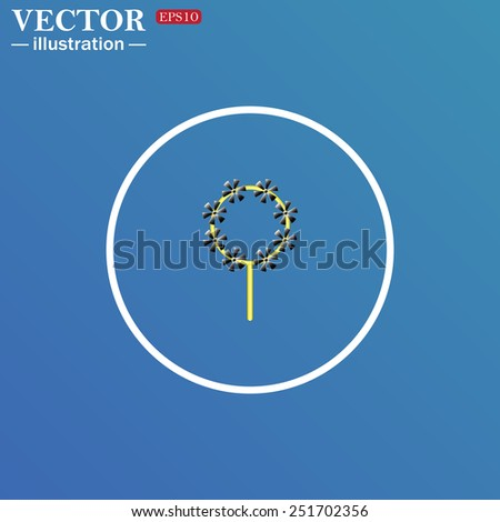 White circle on a blue background. Children's toy wind mill, turntables, pinwheel wind vane, vector illustration, EPS 10 - stock vector