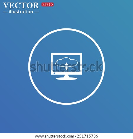 White circle on a blue background. cloud storage on the computer, vector illustration, EPS 10 - stock vector