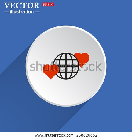 White circle on a blue background with shadow.  Icon planet and two red hearts. Symbol of love between the nation. Globe.  vector illustration, EPS 10  - stock vector