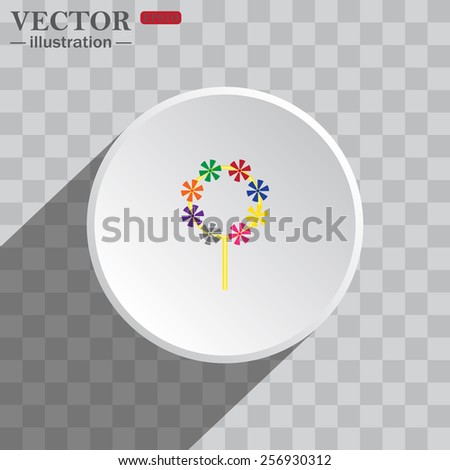 White circle on a gray background with shadow. icon,   Children's toy wind mill, turntables, pinwheel wind vane, vector illustration, EPS 10 - stock vector