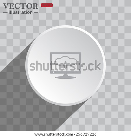 White circle on a gray background with shadow. icon,   cloud storage on the computer, vector illustration, EPS 10 - stock vector