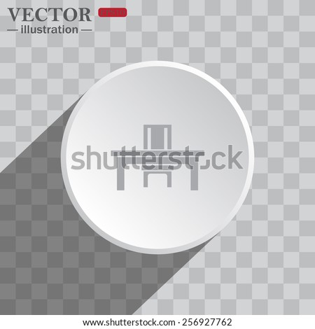 White circle on a gray background with shadow. icon,   desk and chair, a table in the office.  Vector illustration EPS 10 - stock vector