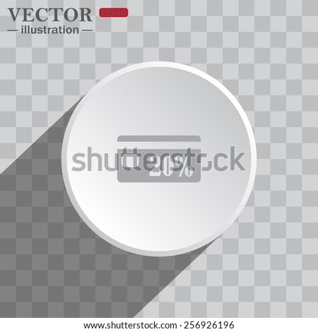 White circle on a gray background with shadow. icon,   Discount label, vector illustration, EPS 10 - stock vector