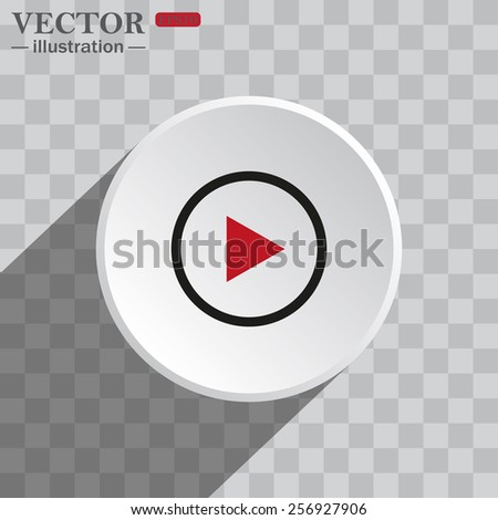 White circle on a gray background with shadow. icon,   play, vector, EPS 10 - stock vector