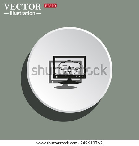 White circle on a green background with shadow. cloud storage on the computer, vector illustration, EPS 10 - stock vector
