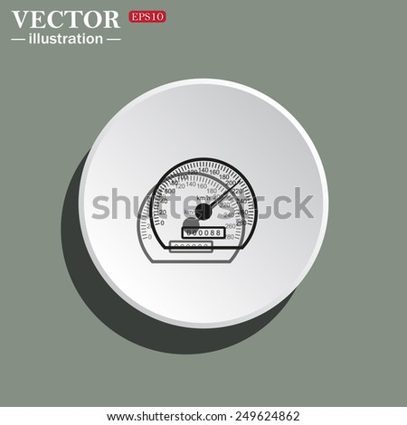 White circle on a green background with shadow. speedometer. Vector illustration EPS 10  - stock vector