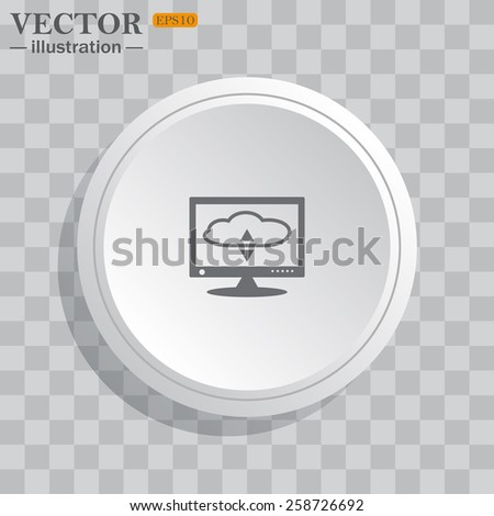 White circle, white button on a gray background with shadow. Grey icon on white.  cloud storage on the computer, vector illustration, EPS 10 - stock vector