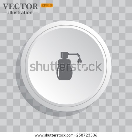 White circle, white button on a gray background with shadow. Grey icon on white.  Shower Gel, Liquid Soap, Lotion, Cream, Shampoo, Bath Foam. , vector illustration, EPS 10 - stock vector